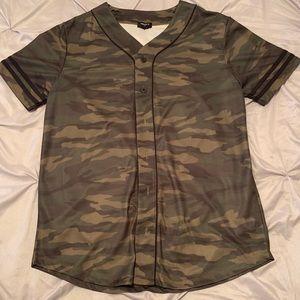 Camo Button Down T-Shirt